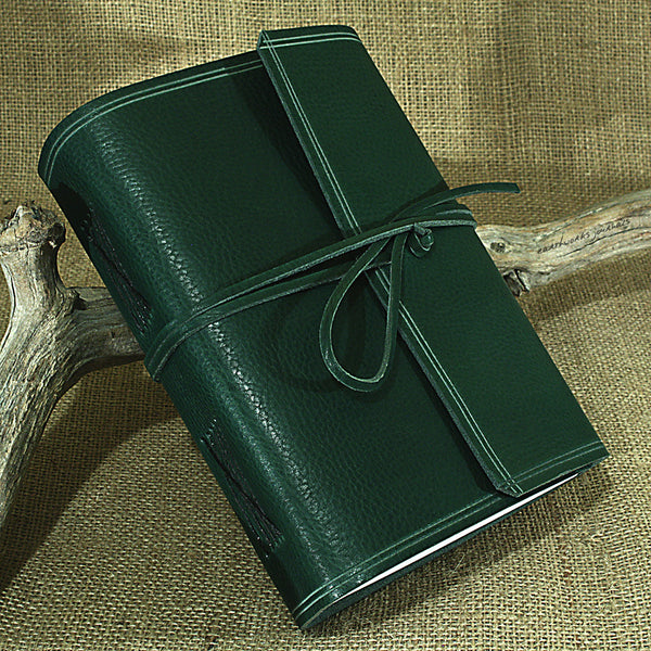A5 rugged green leather journal - wraparound 2 - earthworks journals - A5W005