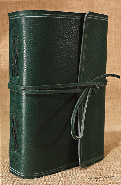 A5 rugged green leather journal - wraparound 3 - earthworks journals - A5W005