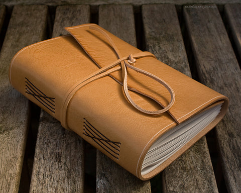 A5 rugged natural leather journal 2 - wraparound - earthworks journals - A5W017