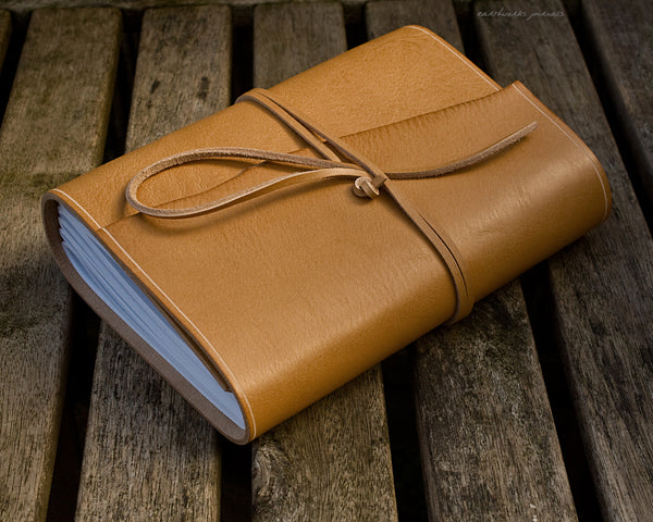 A5 rugged natural leather journal 3 - wraparound - earthworks journals - A5W017