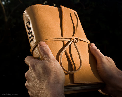A5 rugged natural leather journal - wraparound - earthworks journals - A5W017