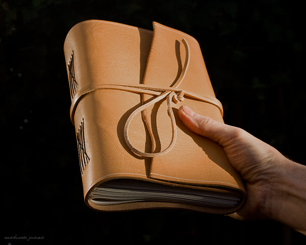 A5 rugged natural leather journal 5 - wraparound - earthworks journals - A5W017