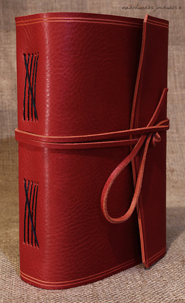 A5 rugged red leather journal - wraparound 2 - earthworks journals - A5W009