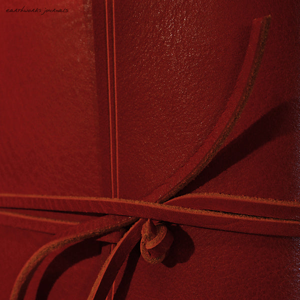 A5 rugged red leather journal - wraparound detail - earthworks journals - A5W009