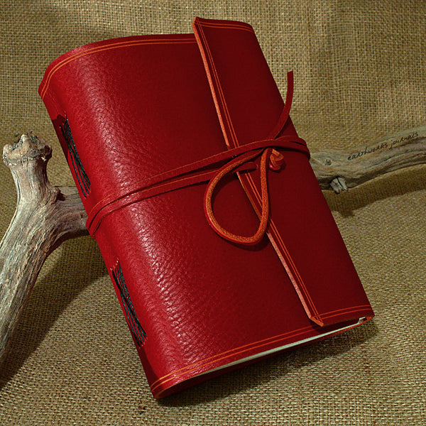 A5 rugged red leather journal - wraparound - earthworks journals - A5W009