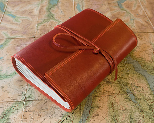 A5 rugged red leather journal - wraparound 3 - earthworks journals - A5W009