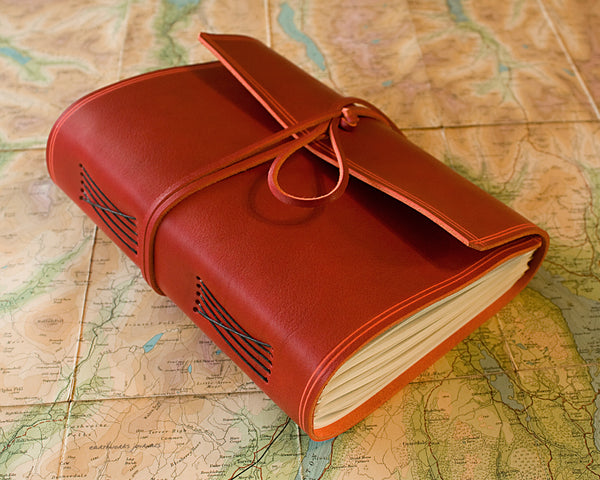 A5 rugged red leather journal - wraparound 4 - earthworks journals - A5W009