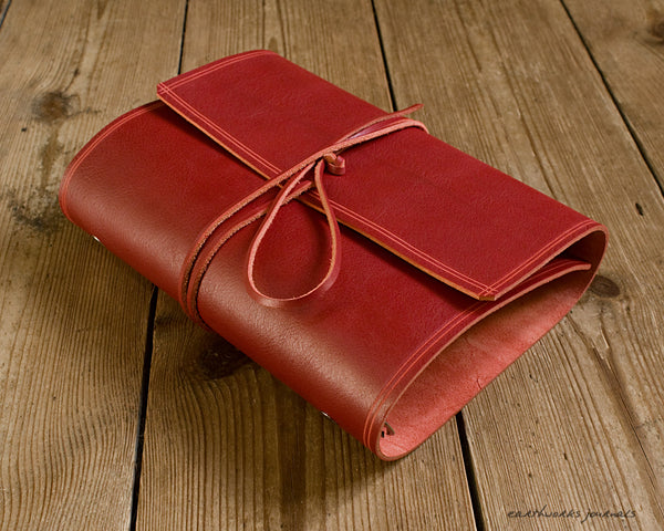 A5 rugged red leather organiser - wraparound - earthworks journals - A5WB006