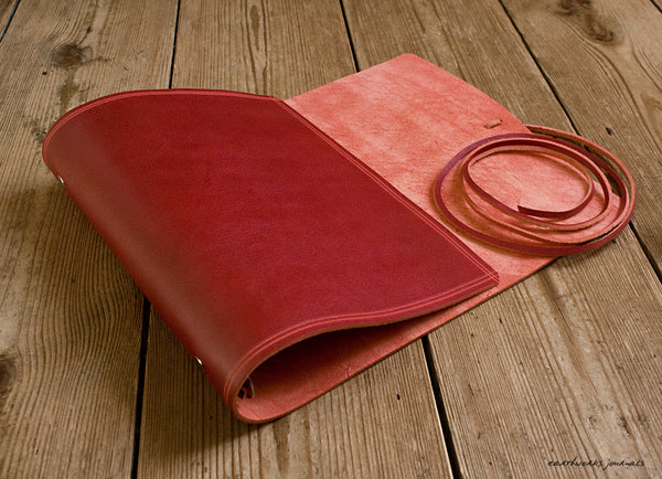 A5 rugged red leather organiser 2 - wraparound - earthworks journals - A5WB006