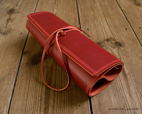 A5 rugged red leather organiser 4 - wraparound - earthworks journals - A5WB006