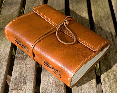 A5 rugged saddle tan leather journal - wraparound - earthworks journals - A5W011
