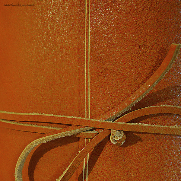 A5 rugged saddle tan leather journal - wraparound detail - earthworks journals - A5W011