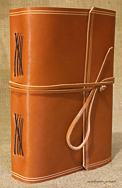 A5 rugged saddle tan leather journal - wraparound 4 - earthworks journals - A5W011