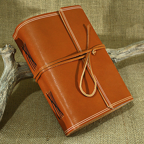 A5 rugged saddle tan leather journal - wraparound 3 - earthworks journals - A5W011