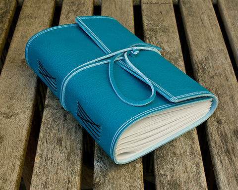 A5 rugged sky blue leather journal - wraparound - earthworks journals - A5W018