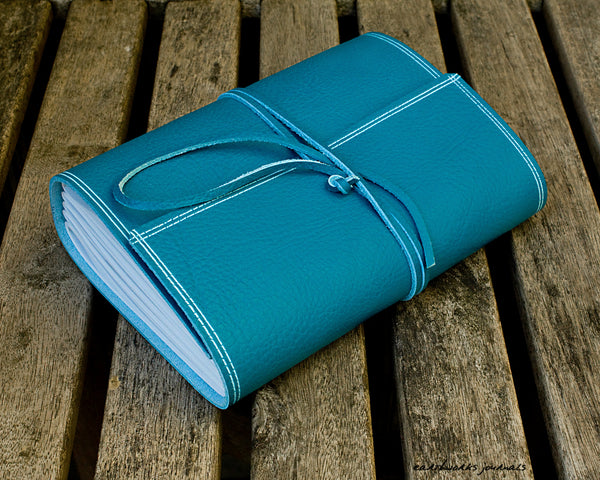 A5 rugged sky blue leather journal 2 - wraparound - earthworks journals - A5W018