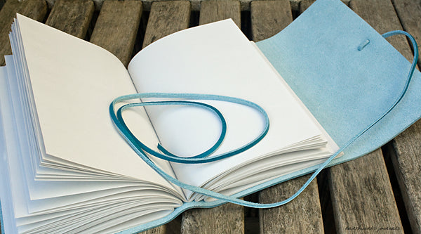 A5 rugged sky blue leather journal open - wraparound - earthworks journals - A5W018