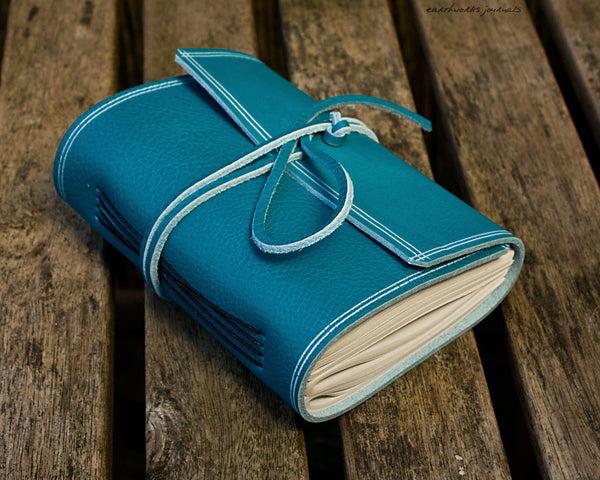 A6 rugged sky blue leather journal - wraparound - earthworks journals - A6W017