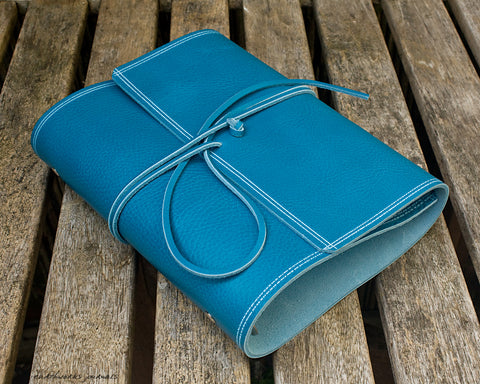 A5 rugged sky blue leather organiser - wraparound - earthworks journals - A5WB010