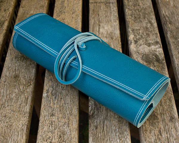 A5 rugged sky blue leather organiser 4 - wraparound - earthworks journals - A5WB010