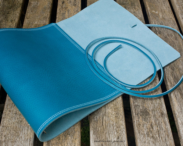 A5 rugged sky blue leather organiser 2 - wraparound - earthworks journals - A5WB010