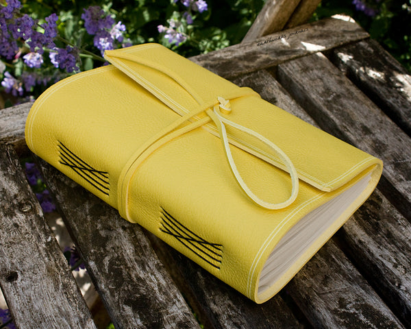 A5 rugged yellow leather journal 5 - wraparound - earthworks journals - A5W020