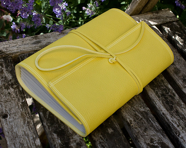 A5 rugged yellow leather journal 4 - wraparound - earthworks journals - A5W020