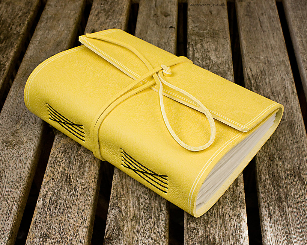 A5 rugged yellow leather journal - wraparound - earthworks journals - A5W020