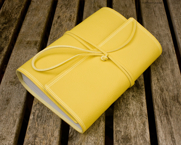 A5 rugged yellow leather journal 2 - wraparound - earthworks journals - A5W020
