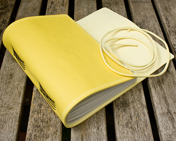 A5 rugged yellow leather journal 3 - wraparound - earthworks journals - A5W020