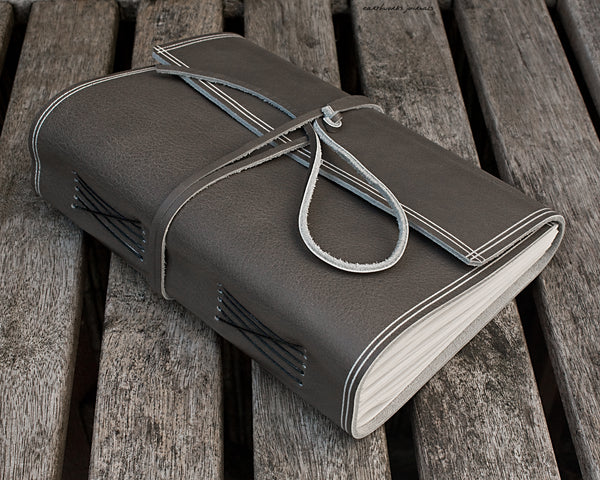 A5 rugged warm grey leather journal 3 - wraparound - earthworks journals - A5W021