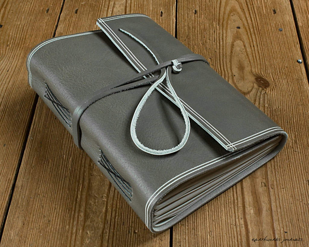 A5 rugged warm grey leather journal - wraparound - earthworks journals - A5W021