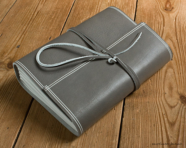 A5 rugged warm grey leather journal 2 - wraparound - earthworks journals - A5W021