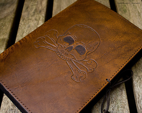 A5 brown leather journal - skull and crossbones - earthworks journals - A5C028