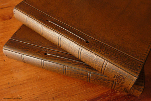 A5 brown leather journal - replaceable page spines - earthworks journals