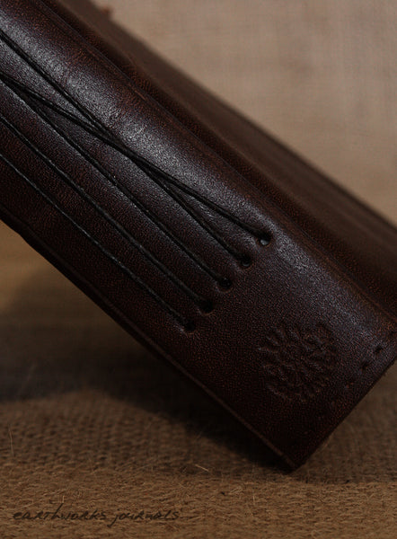 A5 dark brown leather journal - plain classic spine - earthworks journals