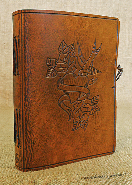 A5 brown leather journal - swallow, heart and rose tattoo 2 - earthworks journals - A5C030