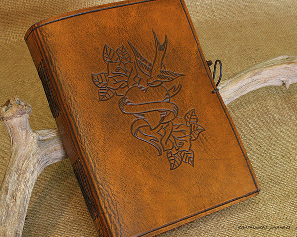 A5 brown leather journal - swallow, heart and rose tattoo - earthworks journals - A5C030