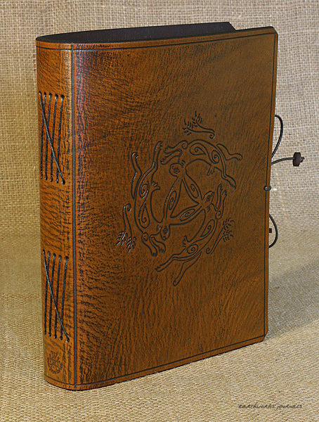 A5 brown leather journal - tinners' hares - three hares design 3 - earthworks journals - A5C035