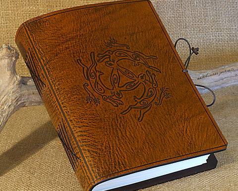 A5 brown leather journal - tinners' hares - three hares design 2 - earthworks journals - A5C035