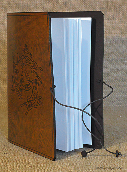 A5 brown leather journal - tinners' hares - three hares design 4 - earthworks journals - A5C035