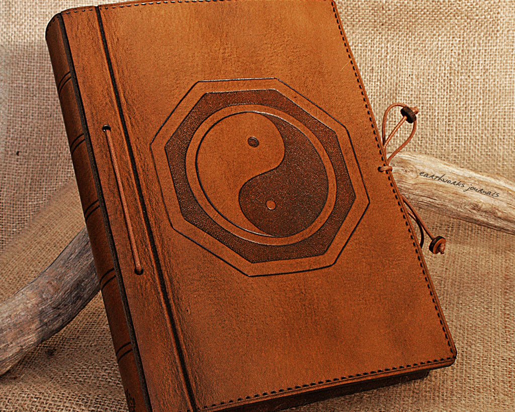 A5 brown leather journal - yin yang - tai chi - earthworks journals - A5C003