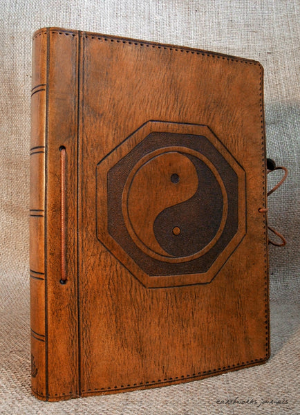A5 brown leather journal - yin yang - tai chi 2 - earthworks journals - A5C003