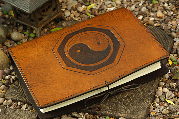 A5 brown leather journal - tai chi - yin yang - earthworks journals - A5C015