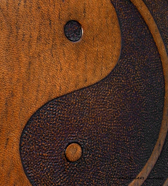 A5 brown leather journal - tai chi - yin yang detail - earthworks journals - A5C015