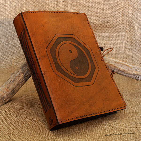 A5 brown leather journal - tai chi - yin yang a - earthworks journals - A5C015