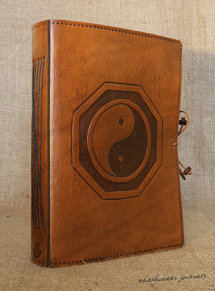 A5 brown leather journal - tai chi - yin yang b - earthworks journals - A5C015