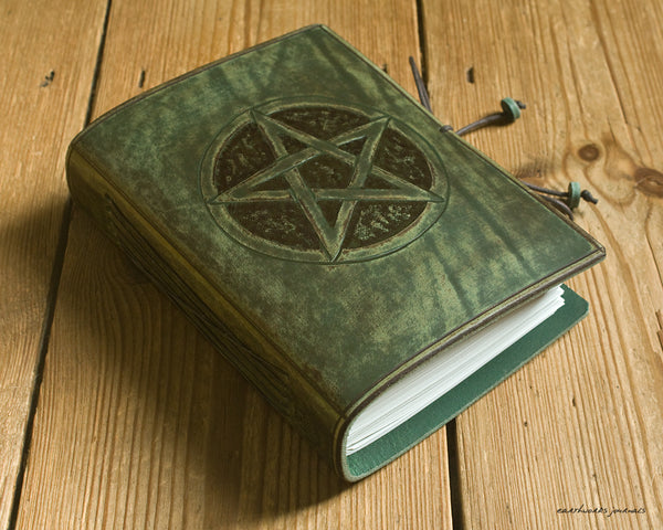 A6 distressed green leather journal - pentagram pentacle - earthworks journals - A6C024