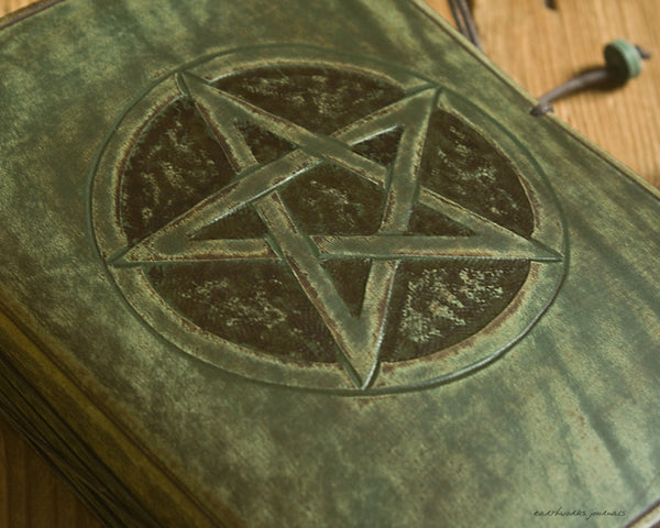 A6 distressed green leather journal - pentagram pentacle 3 - earthworks journals - A6C024