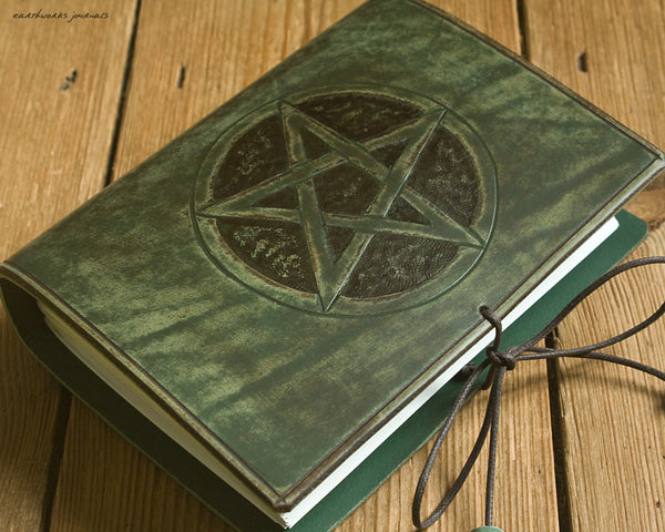 A6 distressed green leather journal - pentagram pentacle 2 - earthworks journals - A6C024